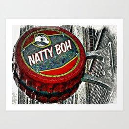 Natty Boh bottle cap in Baltimore Art Print