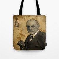 freud Tote Bags featuring Sigmund Freud by susana