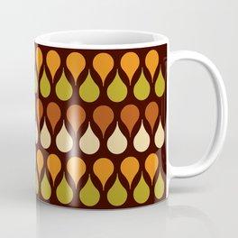 60s, retro pattern, Brown drops, yellow drops, geometric, vintage, drop pattern Coffee Mug