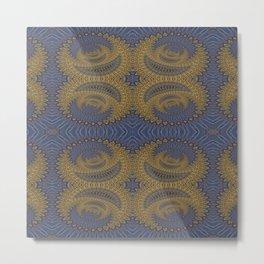 GoldBlue Mandalic Pattern 2 Metal Print