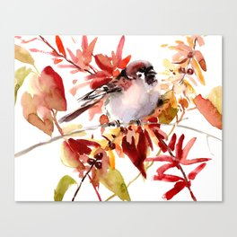 Bird and The Fall Canvas Print