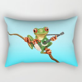 Tree Frog Playing Acoustic Guitar with Flag of Pakistan Rectangular Pillow
