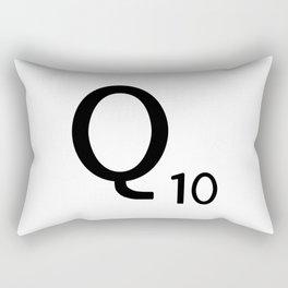 Letter Q - Custom Scrabble Letter Tile Art - Scrabble Q Initial Rectangular Pillow