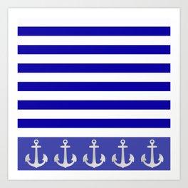 Blue And White Stripes Anchor Art Print