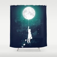 pink floyd Shower Curtains featuring Burn the midnight oil  by Picomodi