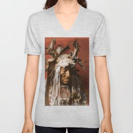 Lean Wolf - Hidatsa - American Indian Unisex V-Neck