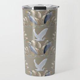 Great Blue Heron - Tan and Gray Travel Mug