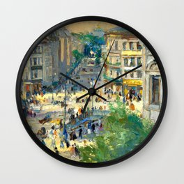 Paris Afternoon Street Scene, Latin Quarter landscape painting by Konstantin Korovin  Wall Clock