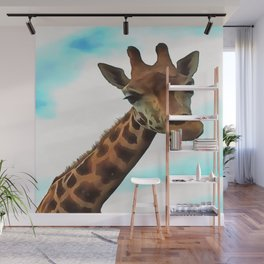 Hello up there! Fun Giraffe With Nerdy Expression Wall Mural