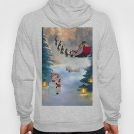 Christmas, snowman with Santa Claus Hoody
