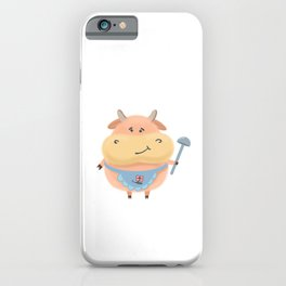 Cow with ladle and apron cute fluffy cartoon new year symbol holiday cheerful iPhone Case