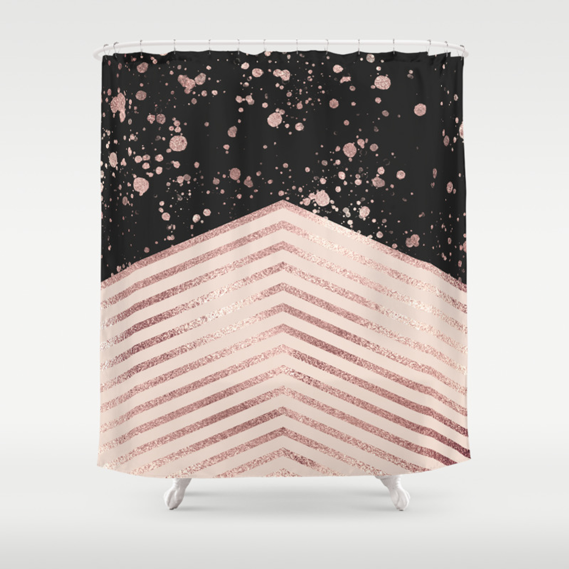 Luxury Rose Gold Pink Black Chevron Paint Splatter Shower Curtain