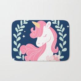 Pretty hand drawn unicorn background with leaves decoration Bath Mat