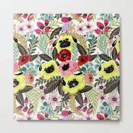 Flower Pugs Metal Print