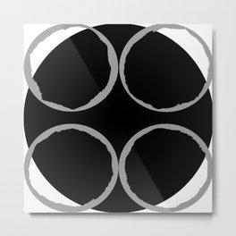 Grey Circles Circling A Midnight Circle Metal Print