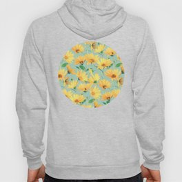 Painted Golden Yellow Daisies on soft sage green Hoody