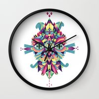 mask Wall Clocks featuring Mask by Cobrinha