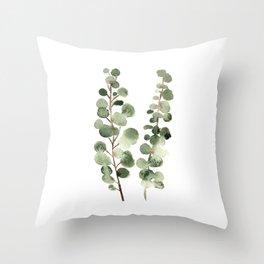 Eucalyptus (watercolor finger painting) Throw Pillow