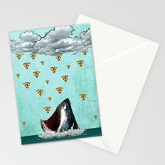 Pizza Shark Print Stationery Cards