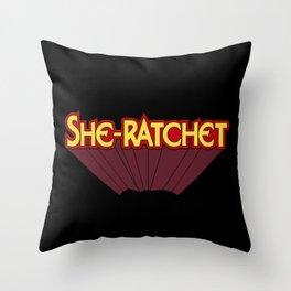 She-Ratchet Vintage Superheroine Typography Throw Pillow