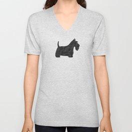 Scottish Terrier | Black Scottie Dog Silhouette Unisex V-Neck
