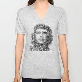 Che Guevara Portrait in Words Unisex V-Neck