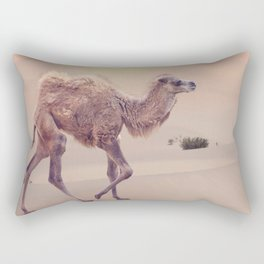 Baby Camel with two humps , Bactrian camel walking in desert at sunset Rectangular Pillow