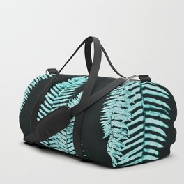 Teal Turquoise Forest Ferns Duffle Bag