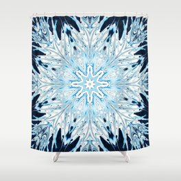 Winter Snowflake Mandala Shower Curtain