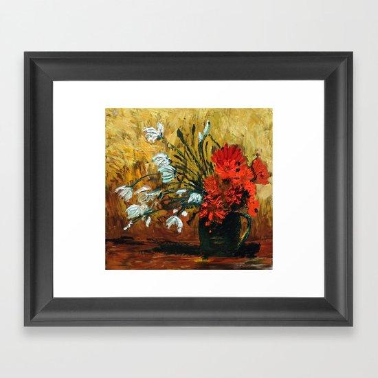 Red Flowers In Green Vase Framed Art Print