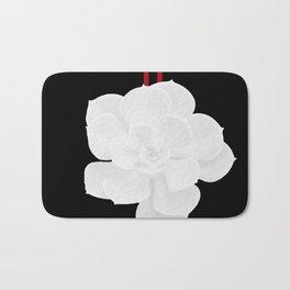White Succulent On Black #decor #society6 #buyart Bath Mat