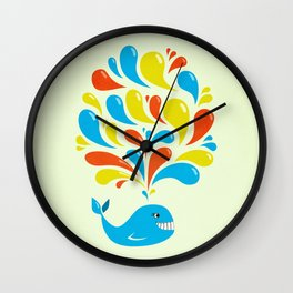 Colorful Swirls Happy Cartoon Whale Wall Clock