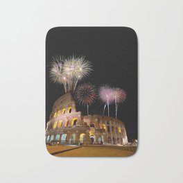 Colosseum illuminated with fireworks in Rome. Bath Mat