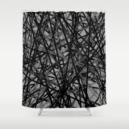 Kerplunk Extended Black and White Shower Curtain