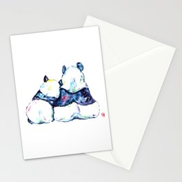 Pandas Bears Colorful Watercolor Painting Stationery Cards