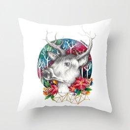 Christmas Reindeer / Deer Painting Drawing Throw Pillow