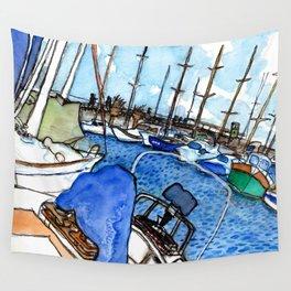 Boats at the Marina Wall Tapestry