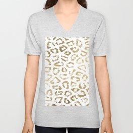 Modern white chic faux gold foil leopard print Unisex V-Neck