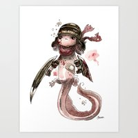 bouletcorp Art Prints featuring Axolotl Barbare by Bouletcorp