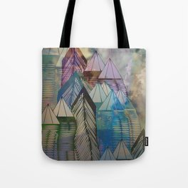 Triangular Endings on the Top Above the Clouds / Urban 04-11-16 Tote Bag