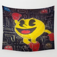 pacman Wall Tapestries featuring pacman by RaieshaM