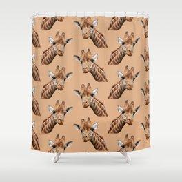 primitive African safari animal brown giraffe Shower Curtain