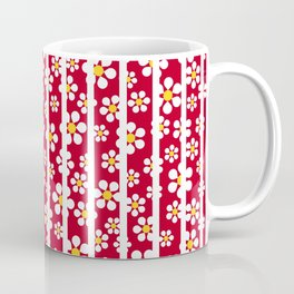 Daisies and Stripes - red - more colors Coffee Mug