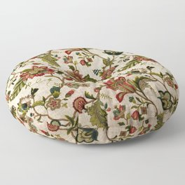 Red Green Jacobean Floral Embroidery Pattern Floor Pillow