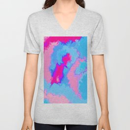 Girly Pink and Blue Abstract Digitized Watercolor Unisex V-Neck