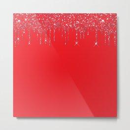 red glitter Metal Print