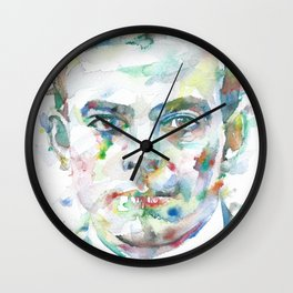ANTOINE DE SAINT-EXUPERY watercolor portrait.4 Wall Clock