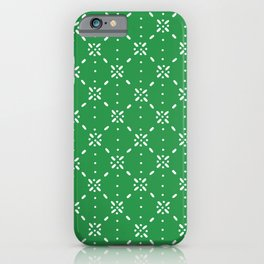 Christmas snowflake vector with simple modern white stitches on green background, seamless pattern iPhone Case