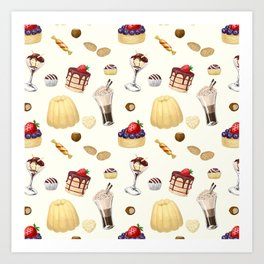 Sweet pattern with various desserts. Art Print