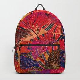 Rainbow background. Gingko biloba leaves. Hand painted Pattern. Backpack
